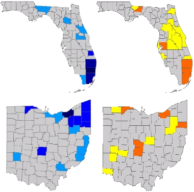 Above are maps of electronic voting machine incidents reported to the EIRS. On the left are county maps of Florida and Ohio, showing the Democratic-voting counties in shades of blue proportional to the population, and on the right are maps with the machine incidents in yellow, orange, and red.   Electronic voting machines were primarily placed in Democratic counties. In Democratic counties in Ohio with voting machine problems, there were, on avg., over 8 times as many machine problem reports per voter than there were in other counties.